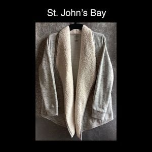 St. John's Bay Gray Sherpa Collar Sweater
